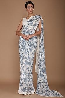 Ivory & Blue Printed Saree Set by Varun Bahl