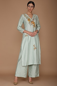 Powder Blue Chanderi Kurta Set by Varun Bahl