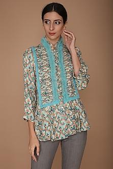 Blue & Peach Printed Jacket by Varun Bahl