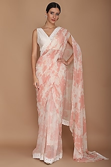 Pink Printed Saree Set by Varun Bahl