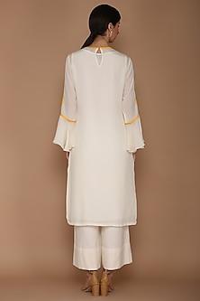 Ivory & Yellow Highlighted Kurta Set by Varun Bahl