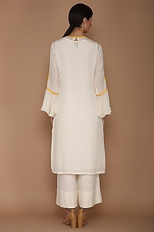 Ivory & Yellow Highlighted Kurta Set by Varun Bahl