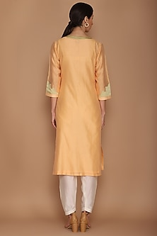 Light Orange Chanderi Kurta Set by Varun Bahl