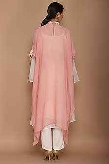 Ivory & Pink Chanderi Kurta With Pants & Cape by Varun Bahl