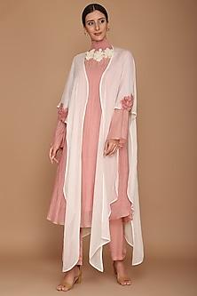 Pink & Ivory Chanderi Kurta With Pants & Cape by Varun Bahl