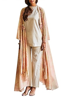 Peach Jacket With Ivory Tunic & Sharara Pants by Varun Bahl