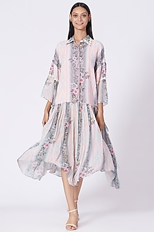 Blush Pink Striped Floral Printed Dress by Varun Bahl Pret-POPULAR PRODUCTS AT STORE