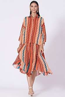 Burnt Orange Printed Tiered Dress by Varun Bahl Pret-POPULAR PRODUCTS AT STORE
