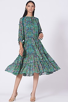 Turquoise Geometric Printed Tiered Dress by Varun Bahl Pret-POPULAR PRODUCTS AT STORE