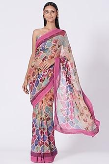 Fuchsia Geometric Printed Saree Set by Varun Bahl Pret-POPULAR PRODUCTS AT STORE