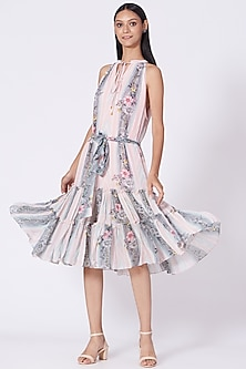 Blush Pink Printed Stripes Dress by Varun Bahl Pret-POPULAR PRODUCTS AT STORE