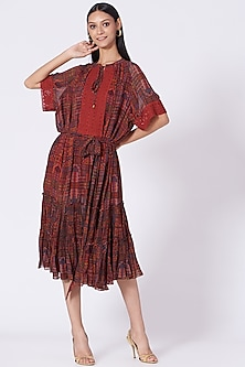 Maroon Geometric Printed Dress by Varun Bahl Pret-POPULAR PRODUCTS AT STORE
