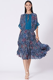 Blue Geometric Printed Dress by Varun Bahl Pret-POPULAR PRODUCTS AT STORE