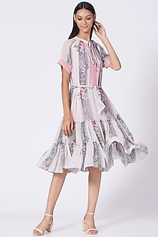 Blush Pink Stripes Printed Dress by Varun Bahl Pret-POPULAR PRODUCTS AT STORE