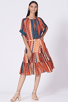 Burnt Orange Geometric Printed Dress by Varun Bahl Pret-POPULAR PRODUCTS AT STORE