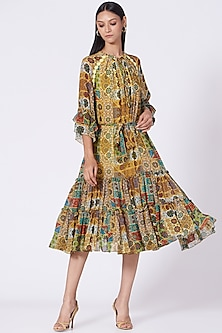 Yellow Geometric Printed Two Tiered Dress by Varun Bahl Pret-POPULAR PRODUCTS AT STORE