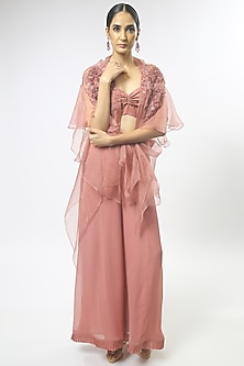 Old Rose Pink Embroidered Cape Set by Varun Bahl