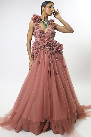 Old Rose Pink Embroidered Gown by Varun Bahl