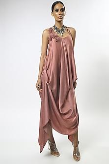 Old Rose Pink Draped Dress by Varun Bahl-VARUN BAHL