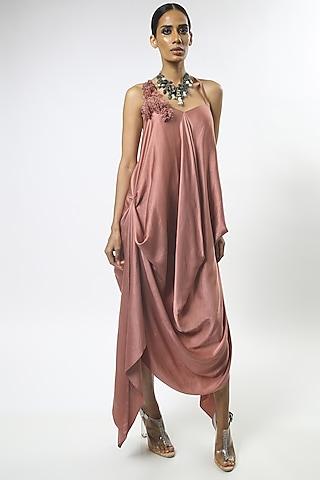 Old Rose Pink Draped Dress by Varun Bahl