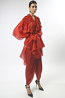 Red Embroidered Cape Set by Varun Bahl-VARUN BAHL