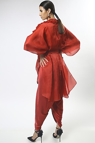 Red Embroidered Cape Set by Varun Bahl