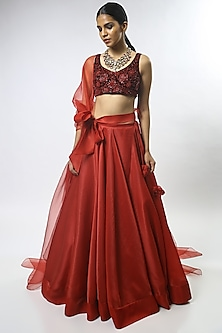 Red Floral Embroidered Lehenga Set by Varun Bahl