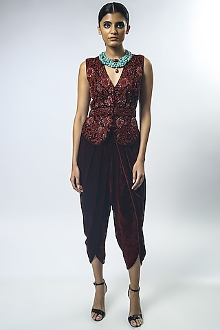 Black & Red Embroidered Gilet With Pants by Varun Bahl