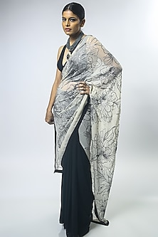Black & Ivory Embroidered Saree Set by Varun Bahl-VARUN BAHL