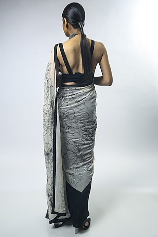 Black & Ivory Embroidered Saree Set by Varun Bahl