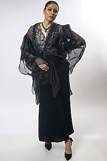 Black Embroidered Cape Set by Varun Bahl
