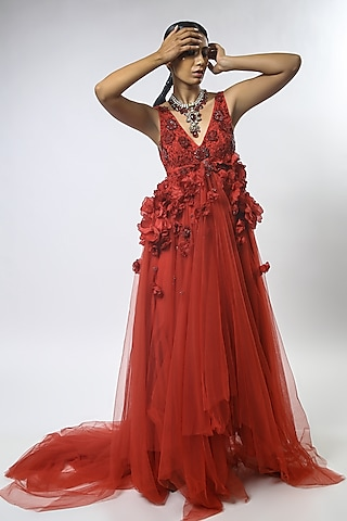 Red Floral Embroidered Gown by Varun Bahl