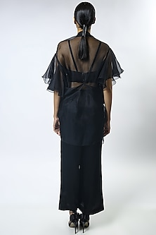 Black Thread Embroidered Cape Set by Varun Bahl