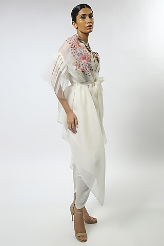Ivory Embroidered Cape Set by Varun Bahl