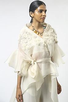 Ivory Floral Embroidered Cape Set by Varun Bahl-VARUN BAHL