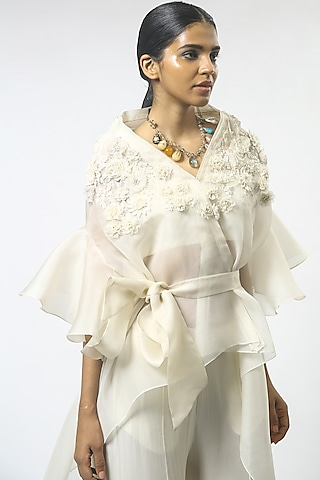 Ivory Floral Embroidered Cape Set by Varun Bahl