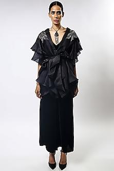 Black Sequins Embroidered Cape Set by Varun Bahl-VARUN BAHL