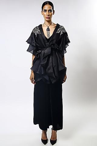 Black Sequins Embroidered Cape Set by Varun Bahl