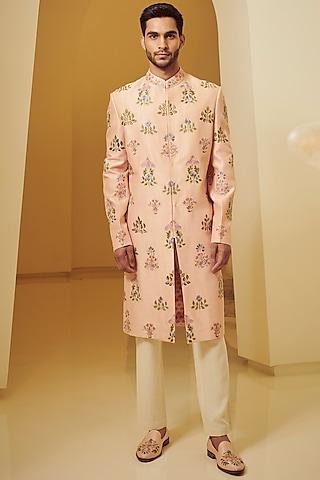 Peach Embroidered Sherwani Set by Varun Bahl Men