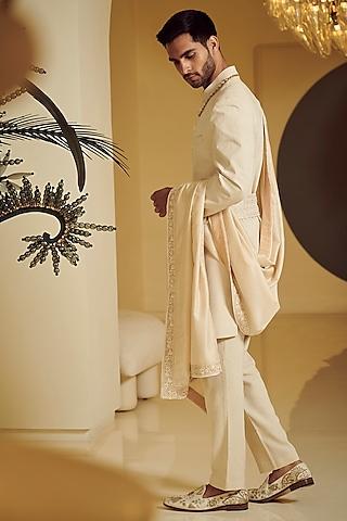 Ivory Embroidered Sherwani Set by Varun Bahl Men