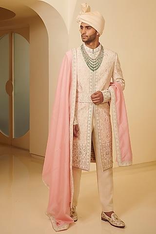 Light Pink Embroidered Sherwani Set by Varun Bahl Men