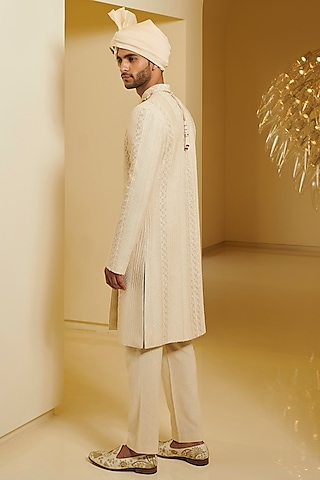 Ivory Resham Embroidered Sherwani Set  by Varun Bahl Men