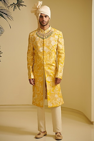 Yellow & Ivory Embroidered Sherwani Set by Varun Bahl Men