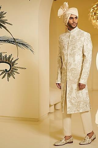 Ivory Zari Embroidered Sherwani Set by Varun Bahl Men