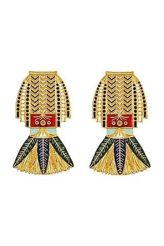 Gold Plated Swarovski Crystals Cleopatra Earrings by Valliyan By Nitya Arora