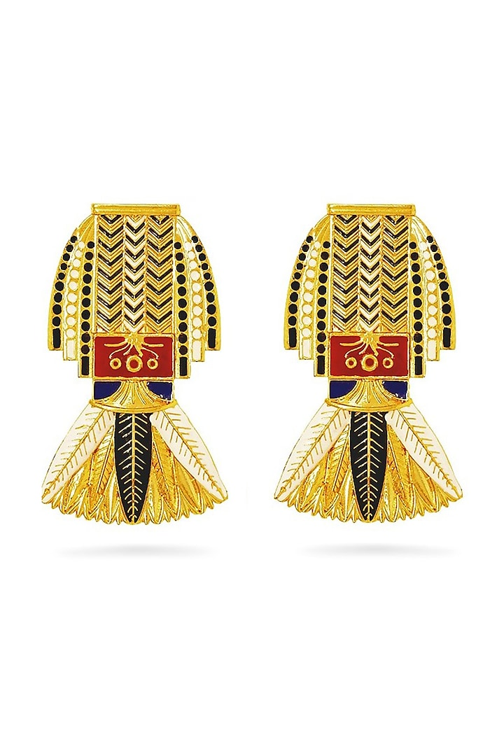 Gold Plated Cleopatra Earrings With Swarovski Crystals by Valliyan By Nitya Arora