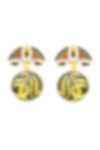 Gold Plated Swarovski Crystals Drop Earrings by Valliyan By Nitya Arora