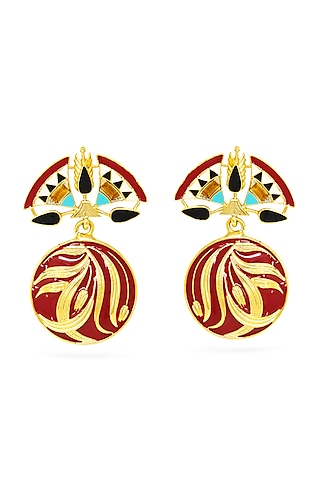 Gold Plated Drop Earrings With Swarovski Crystals by Valliyan By Nitya Arora