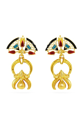 Gold Plated Swarovski Crystals Earrings by Valliyan By Nitya Arora