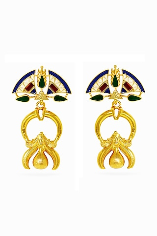 Gold Plated Earrings With Swarovski Crystals by Valliyan By Nitya Arora